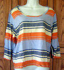 O'NEILL BLUE GRAY WHITE ORANGE & IVORY STRIPE SCOOP NECK CASUAL SHIRT TOP Box41