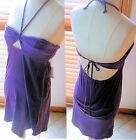 ~VOLCOM~ MIND THE COLOR PURPLE HALTER SUN DRESS KEYHOLE FRONT NWT A