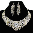 Newest Stylish Women Crystal Shiny Necklace Earrings Set Wedding Party Costume