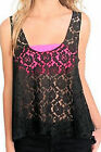 SWEET LOVE BLACK LACE FLORAL ASYMMETRIC LAYERING SHARK BITE TANK TOP HOT TOPIC A