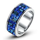 Sapphire Blue Swarovski Crystal Band Ring Wedding Engagement 18K Gold GP R350
