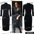 Women's Black Stand-Up Collar 3/4 Sleeve Slim Fit Pencil Dresses With Epaulettes