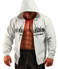 MENS COTTON MUSCLE FITNESS GYM GREY BODYBUILDING CLOTHING ZIP HOODIE WORKOUT TOP