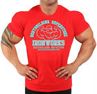 MENS COTTON FITNESS RED TEAM IRONWORKS BODYBUILDING T-SHIRT WORKOUT GYM CLOTHING