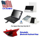 Bluetooth Wireless Plastic Keyboard folio Leather Cover Case for iPad 2/3rd/4th