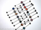 PTFE 2 Way Double Piercing Gem Belly Navel Bar - 16 colours - cut to size