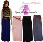 New In Womens Ladies Love Summer Pleated Leather Belted Long Maxi Skirt , Skirts