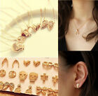 New Fashion Gothic Punk Vintage Heart Wing Necklace Stud Earrings Set Jewelry E1