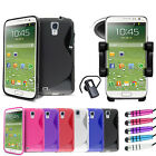 S Line Wave Gel Case - Bluetooth Headset - Car Holder For Samsung Galaxy S4 i950