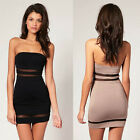 Women Bodycon Sheer Mesh Insert Strapless Evening Party Mini Clubwear dress Y560
