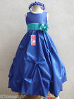 ROYAL BLUE JADE TEAL GREEN PARTY FLOWER GIRL DRESS 2T 2 3 4 5 6X 6 7 8 10 12 14