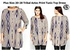 LADIES CURVE PLUS SIZE 22-24 GEOMETRIC TRIBAL 60s BOHO TUNIC DRESS TOP BLOUSE