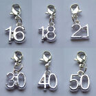 SILVER PLATED MILESTONE SPECIAL BIRTHDAY AGE NUMBER CHARM
