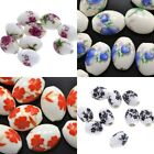 20x Pink Blue Black Red White Barrel Floral Oval Porcelain Ceramic Beads