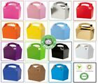 35 x Childrens/Kids Plain Coloured Carry Food Meal Birthday Party Loot Bag Boxes