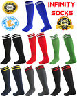 Football Socks Soccer Hockey Rugby Sport Stripes Mens Women Knee High Infinity