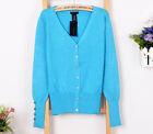 Womens Ladies Long Sleeve V Neck Casual Jumper Knitwear Coat Blouse Cardigan A