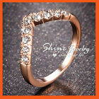 18K ROSE GOLD FILLED R80 ENGAGEMENT WEDDING LAB DIAMONDS LADIES SOLID BAND RINGS