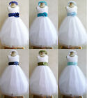 WHITE TURQUOISE AQUA SKY NAVY ROYAL BLUE TODDLER BRIDAL PARTY FLOWER GIRL DRESS