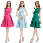 Women's  Bowtie Round Neck Short Sleeve Chiffon Casual Cocktail Dress 06113