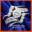 9K WHITE GOLD GF R234 3WAY LUXURY SIMULATED DIAMONDS BRIDAL LADY SOLID RING SET