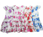 New Girls Flower Floral Summer Holiday Dress Pink Red Blue Purple Age 2 - 12 yrs