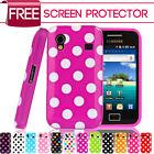 Polka Dots Silicone Gel Case Cover For Samsung Galaxy Ace S5830+Screen Protector