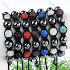1pc Fimo Crystal Hematite Ball Bead Macrame Bracelet Jewelry Girl Women #4301