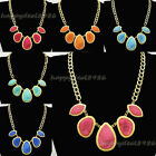 Fashion Golden Chain Irregular Druzy Resin Beads Bib Pendant Necklace N43