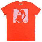 Hollister Mens Tshirt  Dudes New Graphic Tee Neon Orange Seagull V088