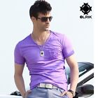 100% Cotton,Casual Fashion Mens Slim Fit V neck short Sleeve Candy Color t shirt