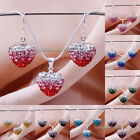 New CZ Crystal Clay Heart Pendant Necklace&Earrings Shamballa Jewelry Sets