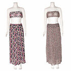 WOMENS LADIES CHIFFON FLORAL PRINT PALAZZO WIDE LEG TROUSER SET BRA BRALET TOP
