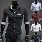 ST150 New Mens Luxury Casual Slim Fit Stylish Dress Short Sleeves Shirts 4Colors