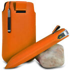 ORANGE POUCH PULL TAB CASE COVER W/ RETRACTABLE STYLUS PEN FOR VARIOUS PHONES