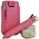 LIGHT PINK PULL TAB POUCH CASE W/ RETRACTABLE MINI STYLUS PEN FOR MOST PHONES