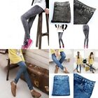 Blue Black Womens Denim Jeans Look Stretch Skinny Pencil Leggings Pants Trousers