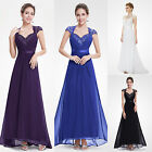 Maxi Womens Cap Sleeves Long Wedding Bridal Evening Prom Dress Formal Gown 09867