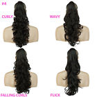 PONYTAIL Clip In On Hair Extensions Dark Brown #4 REVERSIBLE 4 Styles Claw Clip
