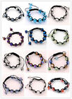 Womens Faceted Glass Ball Beads Hand-knitted Bangle Bracelet Macrame Adjustable
