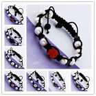 Rhinestone Crystal Disco Ball Freshwater Pearl Beads Macrame Woven Bracelet Pave