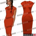 Womens Ladies Blue V-Neck Business Bodycon Pencil Slim Dresses Size 810121416 UK