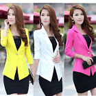 Womens Suit Candy Color 3/4 Sleeve Lapel Collar Lady Slim Casual Jacket Blazer
