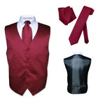 Men's Dress Vest NeckTie BURGUNDY Neck Tie Set for Suit or Tuxedo