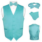 Men's Dress Vest BOWTie TURQUOISE AQUA BLUE Bow Tie Set for Suit or Tuxedo