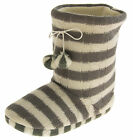 WOMENS SLIPPERS GREY WHITE KNITTED STRIPEY WARM BOOT SLIPPERS SIZE 3 4 5 6 7 8