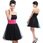 Cute Strapless Rhinestones Organza Bridsmaid Cocktail Party Prom Dress 03214