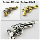 Free Shipping 15Pcs Tibet Silver Gold Bronze Tone Guns Charms Pendants 21mm
