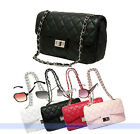 Fashion Quilted Chain Faux Leather Shoulder Handbag Cross Body Bag Purse 4Colors