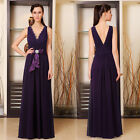 Double V-neck Rhinestones Bow Long Formal Purple Bridesmaid Evening Dress 09947